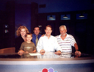 In the WSLS NewsChannel 10 newsroom - L-R: Karen McNew, Brandon Firebaugh, Marc Lamarre, John Carlin & Tommy Firebaugh